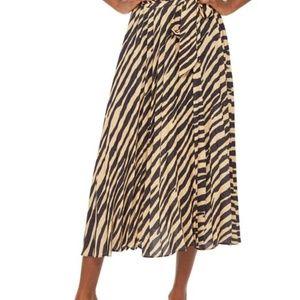 Topshop zebra print pleated midi skirt